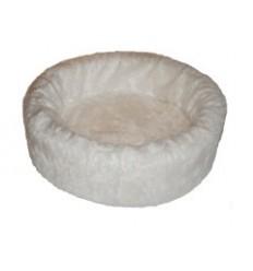 Hundebett plüsch einfarbig weiß