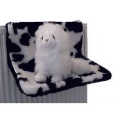 Katzenhängematte aus Plüsch (Kuhdesign)